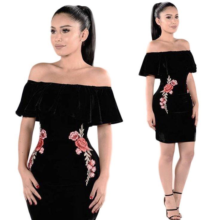 Women Off-Shoulder Velvet Floral Bodycon Evening Party Cocktail Club Mini Dress #Fashion #StretchBodyconShortMiniDress #CasualCocktailFormalEveningPartyProm