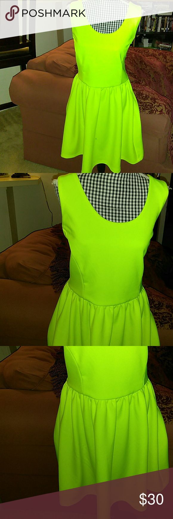 """L'Amour Nanette Lapore Neon Yellow Sleeveless Excellent condition L'Amour Nanette Lapore Neon Yellow Sleeveless Dress. Length: 34"""", armpit to armpit: 17"""" waist: 28"""". Material: 93% polyester, 7% spandex. Lining: 100% polyester. L'amour Nanette lapore Dresses"""