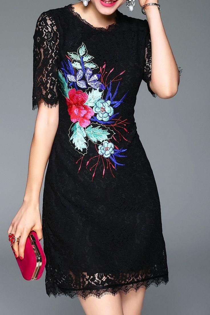Lace Eyelash Mini Embroidered Dress