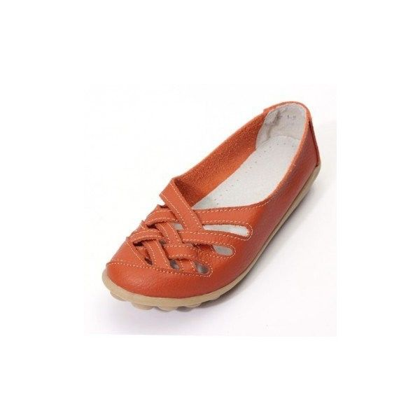 Hollow Out Leather Breathable Casual Slip On Moccasin For Women Ballet... (905 RUB) ❤ liked on Polyvore featuring shoes, flats, orange, ballet pumps, summer shoes, orange ballet flats, ballet flats and orange flats