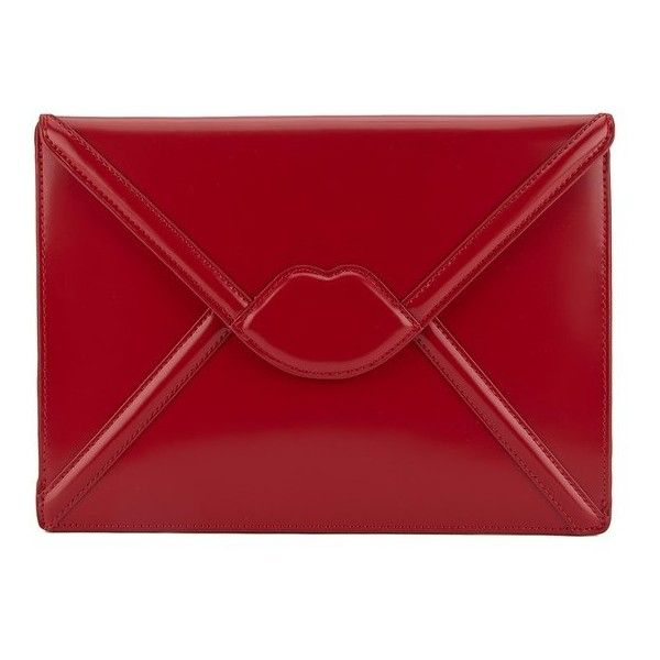 Lulu Guinness Women's Catherine Large Lips Envelope Clutch Bag - Red (3 825 ZAR) ❤ liked on Polyvore
