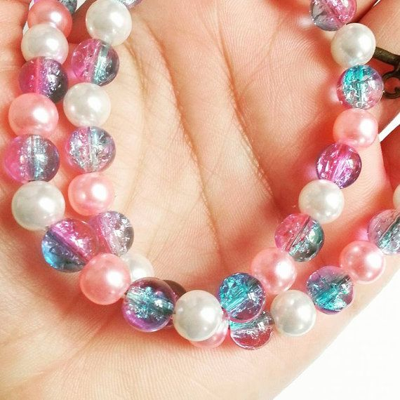 Two Tone Pink Blue Pearl Glass Choker by AaishasCreativeMess