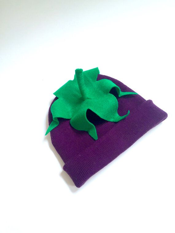 Eggplant Beanie - Child or Adult Halloween Vegetable Costume - Aubergine Hat  from Jumbo Jibbles. Fits toddlers to adults!