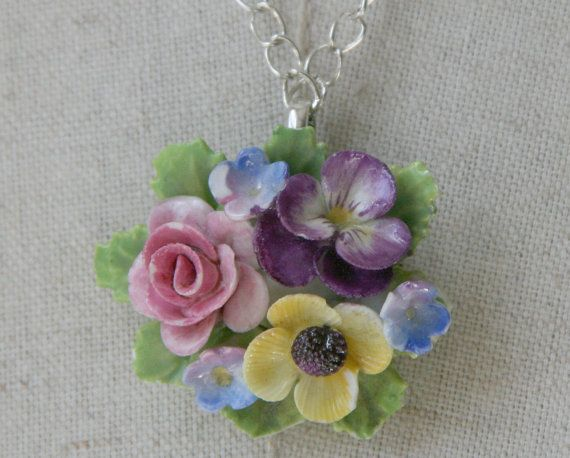 Vintage China posey necklace English Pansy by FiorellaJewelry