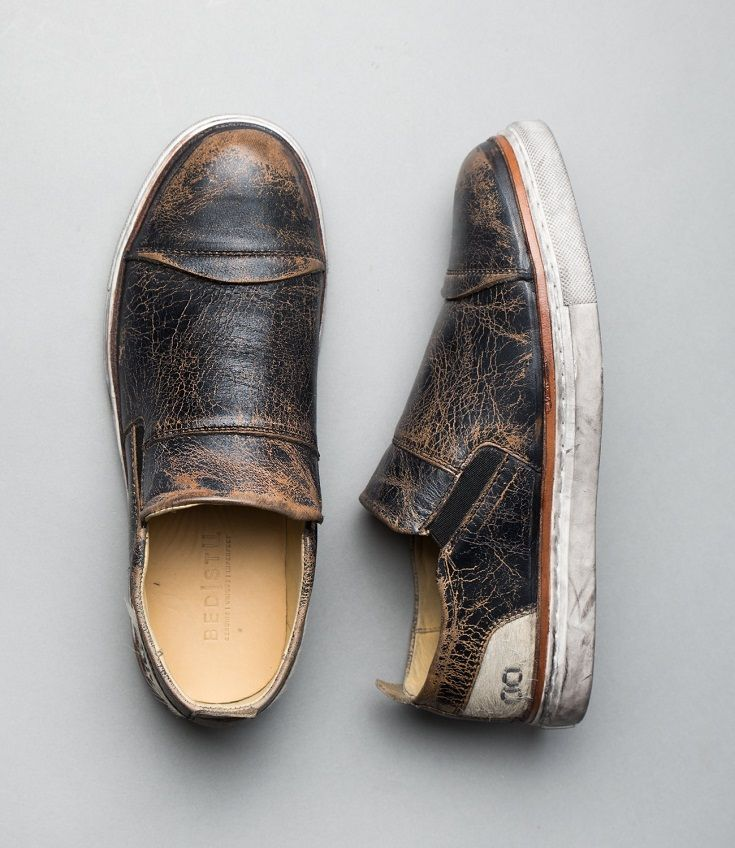Easy to wear, and made for all day comfort, COUNT. This unique slip on features a cap toe, hand finished distressed leather, and fur accents. Have the stand out look this season in Count.