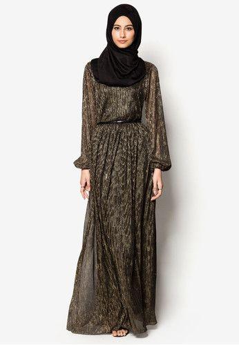 Metallic Pleated Maxi Dress