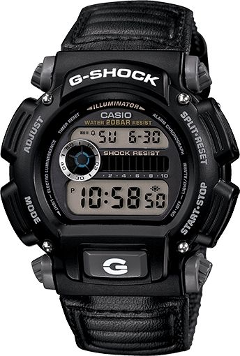 Cheap G-Shock DW9052V-1 Watch The DW9052V-1 is a slightly more expensive version of the DW9052. It has more of a tactical style with a neutral color scheme and a nylon wrist band for improved fitting and comfort. This would be a good choice if you prefer a more subtle look and don't want to call too much attention to your watch.