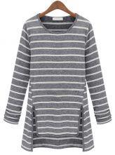 Grey Long Sleeve Zipper Embellished Asymmetrical T-Shirt - Sheinside.com
