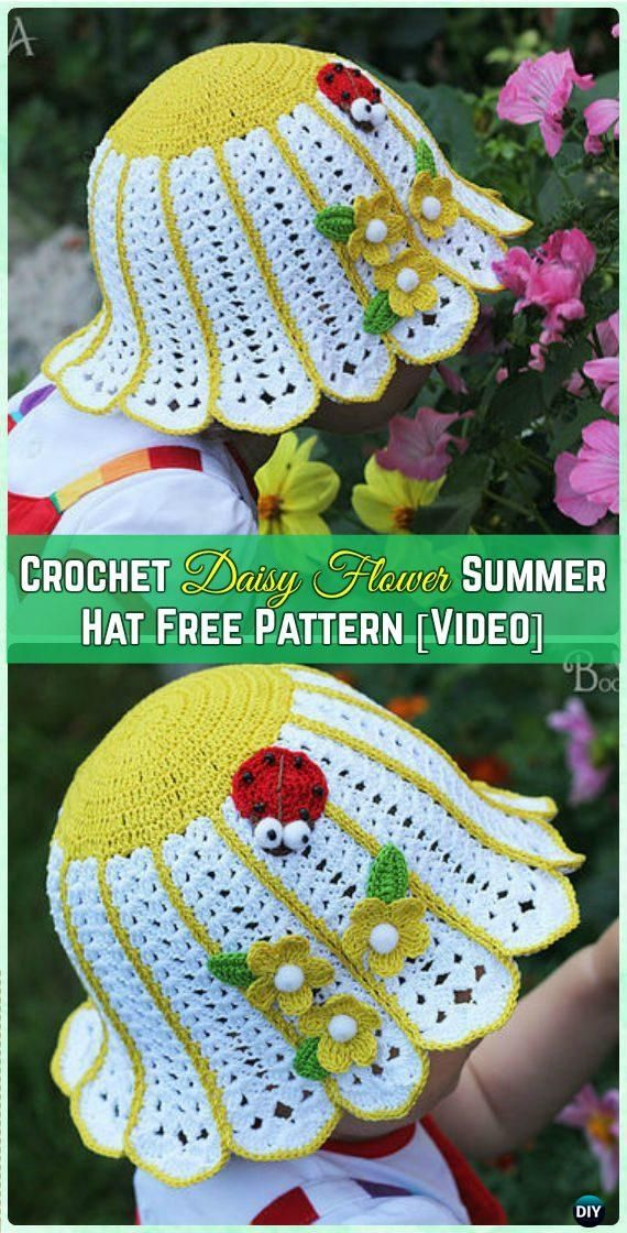 Crochet Daisy Flower Summer Hat Baby Sun Hat Free Pattern [Video] - Crochet Girls Sun Hat Free Patterns