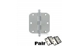 Deltana - 3 1/2 inch x 3 1/2 inch 5/8 inch Radius/Heavy Duty Door Hinge with Ball Tips (Sold as a Pair) in Chrome - ( S35R526-BT )