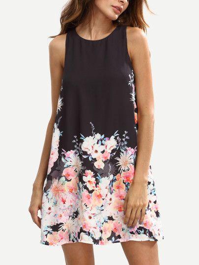 Vestido de tubo sin floral mangas - multicolor