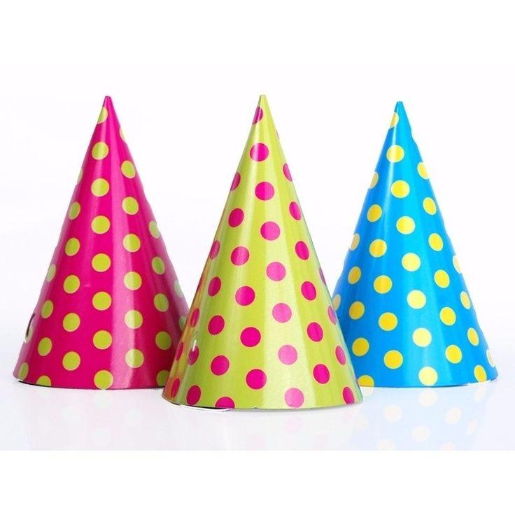 Feesthoedjes met stippen 6 stuks. Deze kartonnen feesthoedjes hebben gekleurde stippen. De party hoedjes zijn circa 16 cm hoog. Geschikt voor kinderen en volwassenen.