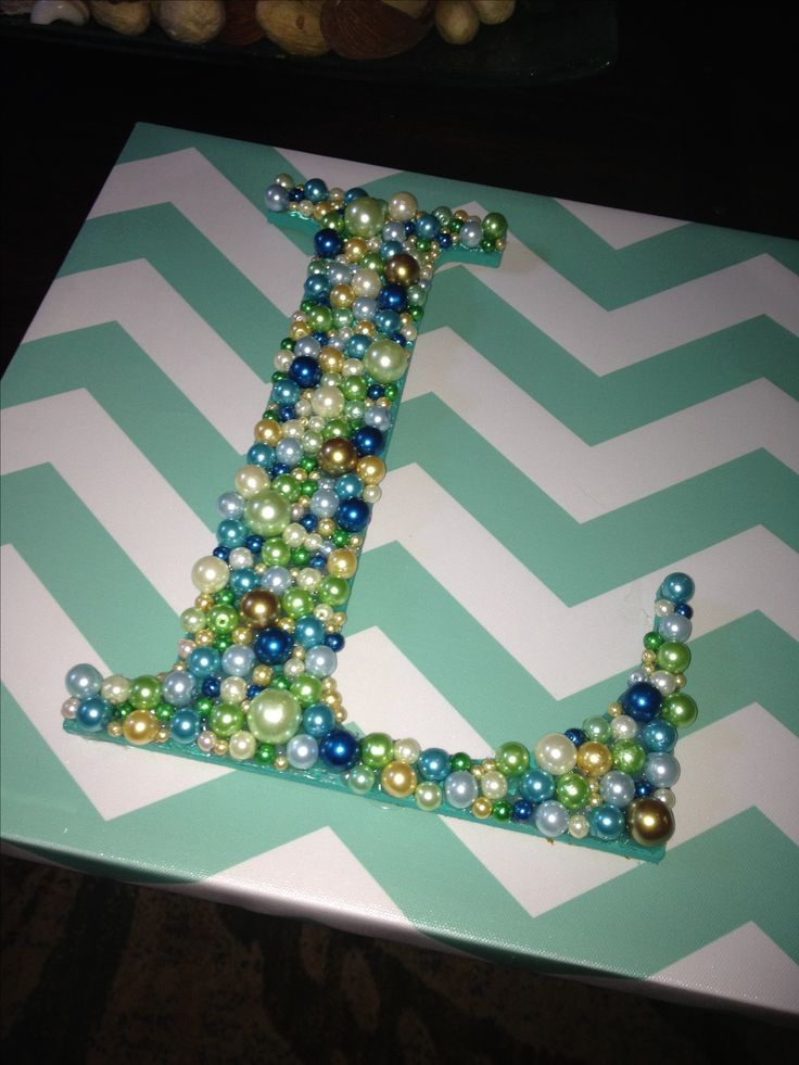 Change the beading and the letter and this is perfect! Maybe purple tinted pearls!!