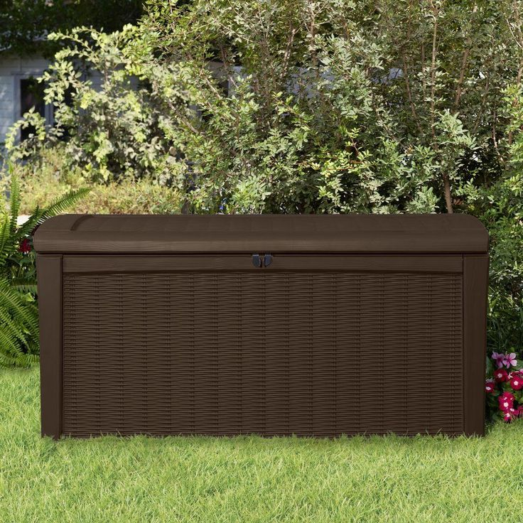 deck storage box 110 gal outdoor wicker patio rattan pool container brown seat
