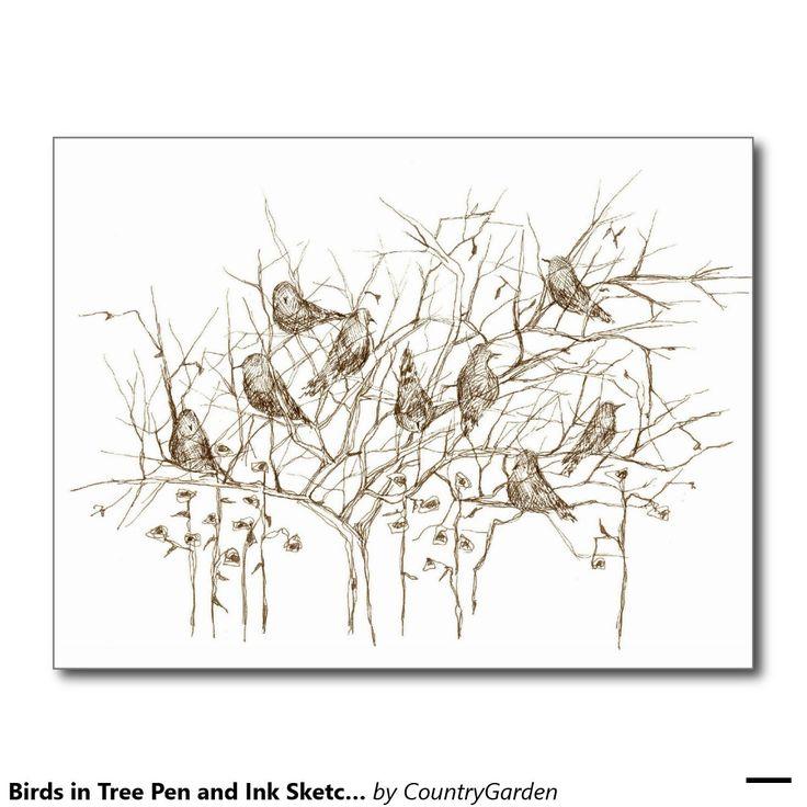 Vögel Baum-in der Federskizze-Postkarte Postkarten