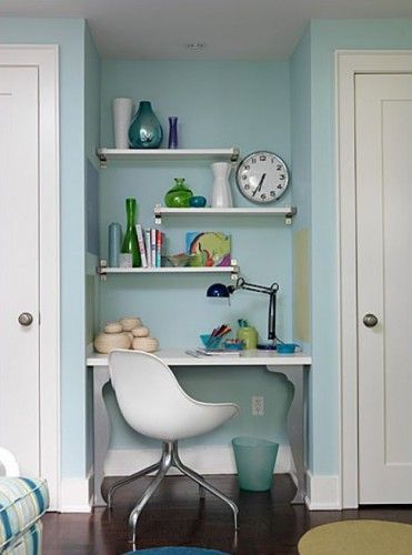 Random shelves are a great extra design feature. Love the shape of the chair.