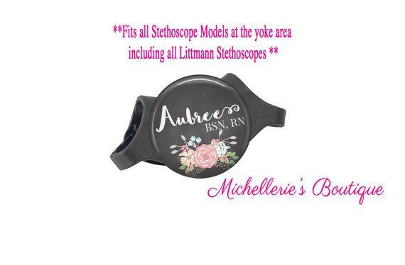 3M Littmann Stethoscope ID tag, Monogram Stethoscope Id Tag, Floral Chalkboard Personalized Stethoscope Id tag, Name Stethoscope Tag, MB300