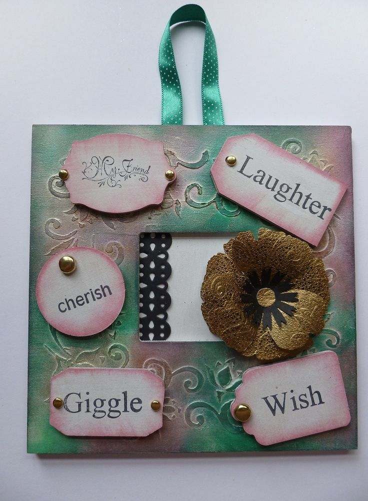 'My Friend' hanging wall plaque.   Imagination Craft's - Lacy swirls border stencil.  Metal spatula.  Relief paste.  White MDF paint.  MDF Tag Charm Kit.  Magi-bond glue.  Satin red,  emerald gold, Purple lace & Gold brocade Silkies paints.   Mat 2014