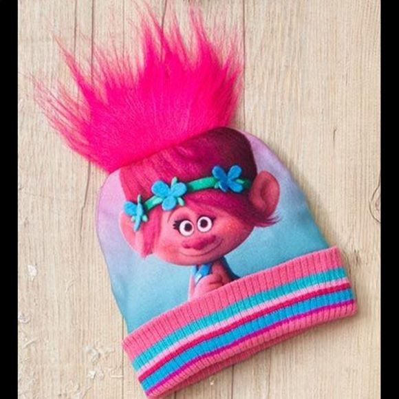 "The Troll Poppy Hat with Hair Super Cute Pink Poppy Troll Hat with Pink Hair. Each hat features a cute character face with cool troll hair on top and a striped cuff at the bottom. One size fits most kids ages - Polyester and acrylic.  🐰🐰Bonus ""Bling & Whimsey"" Necklace ($10 value) FREE with purchase of this Awesome Trolls Hat!! DreamWorks Animation Accessories Hats"