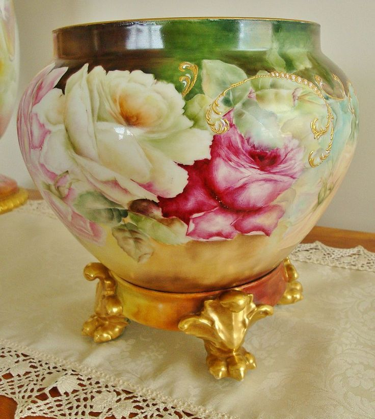 Limoges France Antique  Porcelain Jardiniere with Base Hand Painted  Roses