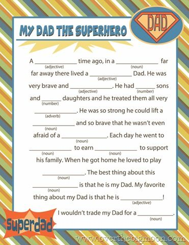Super Cute Fathers Day Mad Lib Free Printable!