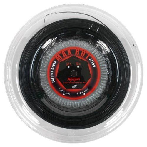 Topspin Cyber Max Rotation 1.31 Reel Tennis String Black by Topspin. $109.90. One of the roughest strings on the market Topspin Cyber MAX ROTation 131 offers excellent spin properties as well as additional ball speed The heptagonal profile helps to easily generate spin and the copolyester construction of the string provides greater playability Cyber MAX ROTation offers excellent control and maximum durability is a comfortable package This string also resists moving thanks to th...