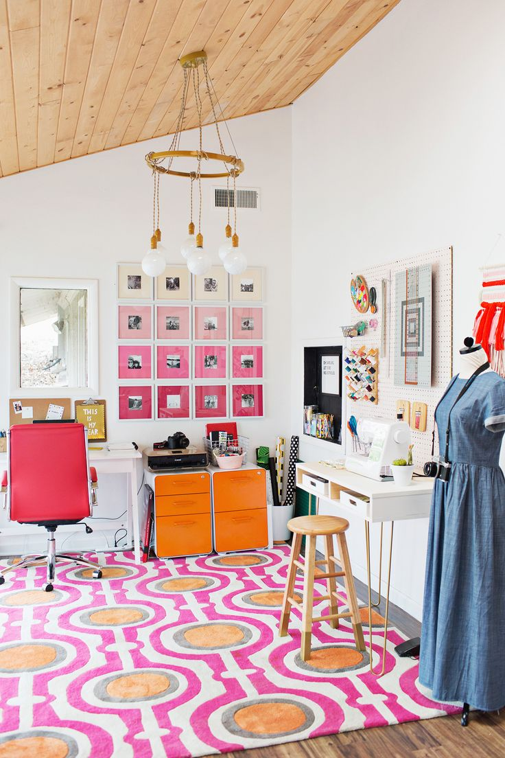 A perfect illustration of how a colorful rug can really amp up the energy in a room.