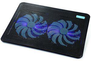 AVANTEK Refroidisseur de 17 Pouces pour Ordinateur Portable PC Notebook Laptop avec 2 Ventilateurs à LED Bleue de 160mm