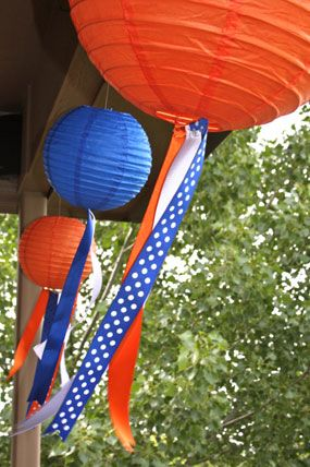 blue and orange baby college football shower little kicker paper lantern and ribbon outdoor decorations