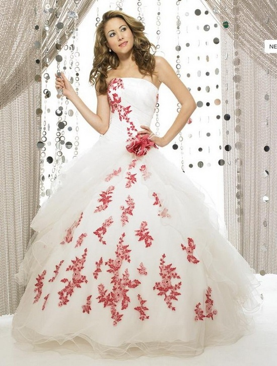 13 best hot peace red white wedding gowns images on pinterest red flower shaped lace bridal gown in princess style junglespirit Images