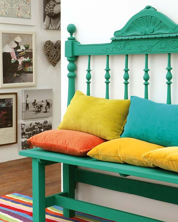 Bench made from a Headboard!Headboard Benches, Vibrant Colors, Colors Schemes, Cribs, Cabeceira Praia, Diy Headboards Benches, Front Porches,  Day Beds, Bright Colors