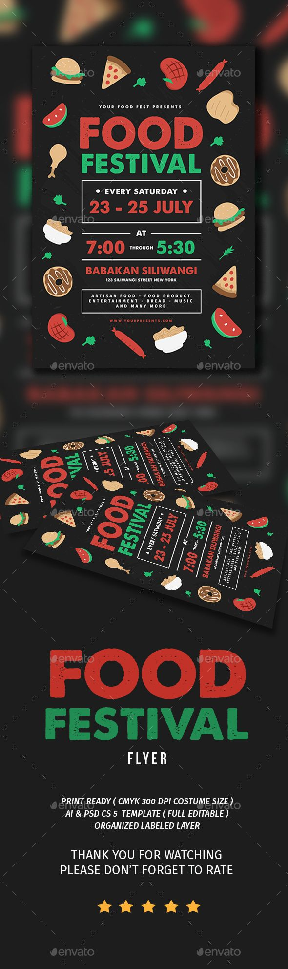 Food Festival Flyer Template PSD, AI Illustrator. Download here: https://graphicriver.net/item/food-festival/17043748?ref=ksioks