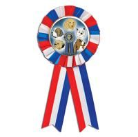 Hooray for the Red White Blue Dog Show Ribbon! #Dog #BestinShow http://www.crownawards.com/StoreFront/ROSBKRWB.Animalsqz1Birds.Ribbons-Tro-Favors.Red-White-Blue_Rosette_Ribbon.prod: Rosette Ribbons, Color, Blue Dog