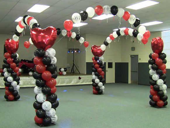Red, White and Black Heart Shape, Valentine Theme Balloon Dance Floor by Nikki @ MyeFavors.com