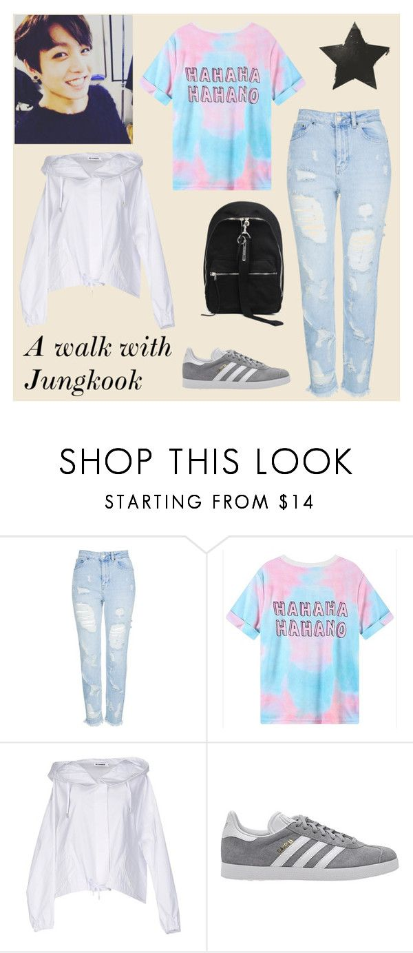 """A walk with Jungkook"" by frencyl on Polyvore featuring moda, Topshop, Jil Sander, adidas Originals, DRKSHDW, Spring, kpop, bts e jungkook"