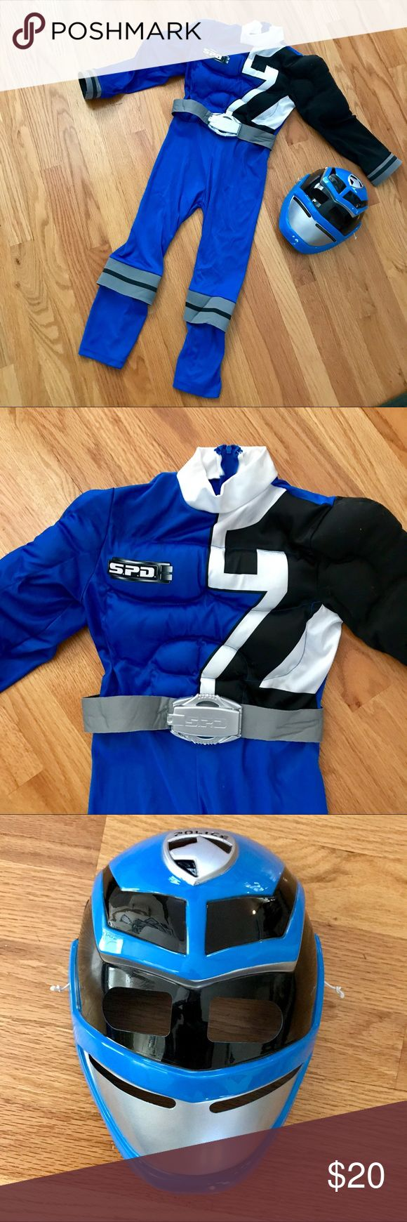 "👫KIDS Halloween  🎃 Costume Blue Power Rangers costume with built in muscles! Matching mask with elastic band in back. Zipper from waist to neckline for easy on/off. We must have removed the tag, but in comparing to the pink Power Ranger costume I am estimating the size. Length 36"", Inseam 18"", PTP 13"". Power Rangers Costumes Halloween"