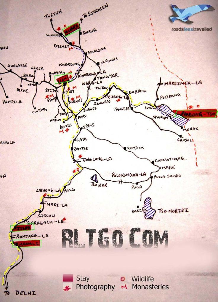 Ladakh road Map Roads Less travelled