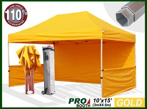 Eurmax Profession Ez Pop up Canopy Booth, Bonus Awning and 4weight Bag(10x15 Feet, Gold) (Full Aluminum Frame with 2 1/4 Inch Hexagon Leg) by Eurmax. $729.95. Canopy top:600 Denier Polyester,Water Resistant,100% UV Protection,Fire Resistant: CPAI-84/ULC S109 & NFPA 701 Flame Retardancy Standards.canopy size:10x15Feet. weight:13.5LBS. Frame:Heavy duty full aluminum Construction(Frame size:10x15Feet / weight:100LBS).Full Truss Design,Leg size:2.2 inch Hexagon ,Adjustable H...