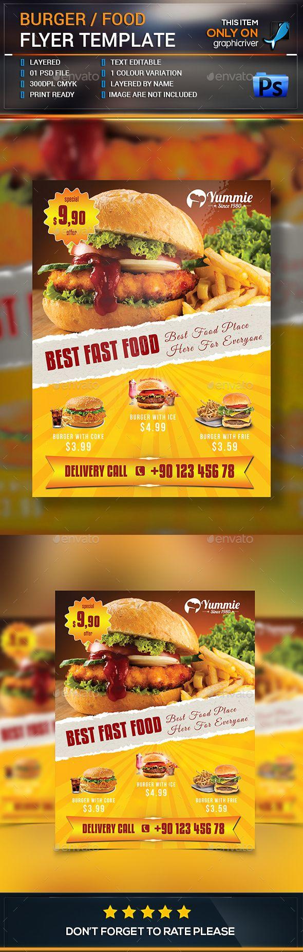 Burger/Food Flyer - Restaurant #Flyers Download here: https://graphicriver.net/item/burgerfood-flyer/15373338?ref=classicdesignp