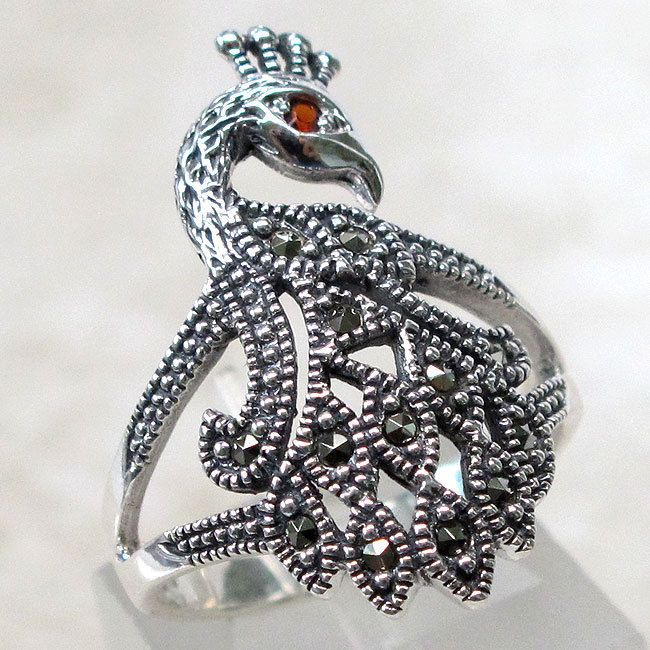 CHARMING MARCASITE PEACOCK 925 STERLING SILVER RING SIZE 5-10