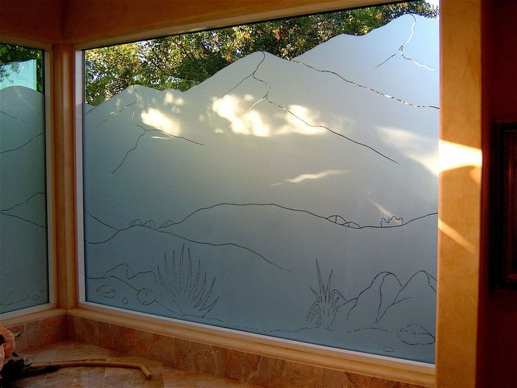 Main level bathroom frosted windows lb mountains pinstripe iii frosted glass window desert landscape mountains by sans soucie art glass