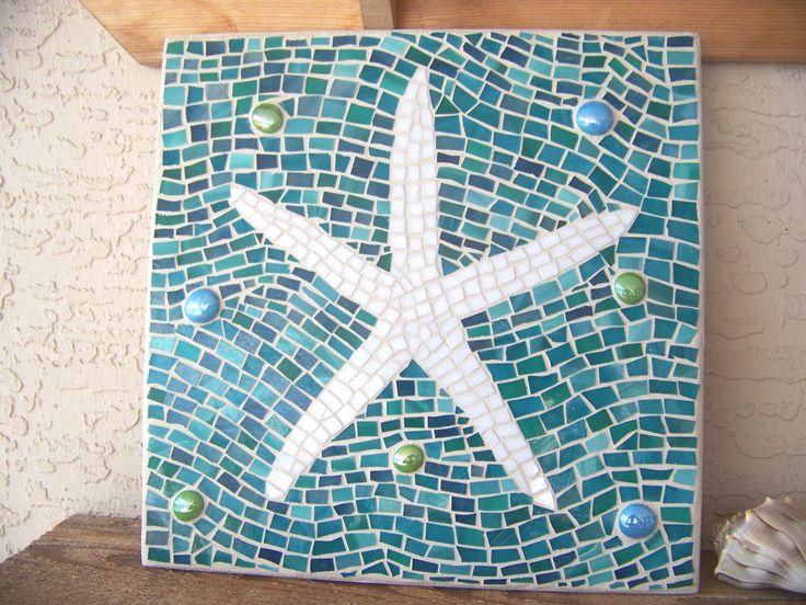 Mosaic Starfish Wall Art - Starfish Decor - Wall Hanging - Stained Glass Mosaic…