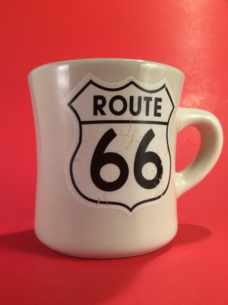 Vintage diner mug Route 66 silkscreened graphic very vintage coffee mug vintage diner vintage heavy duty mug by PaulsEclectic on Etsy