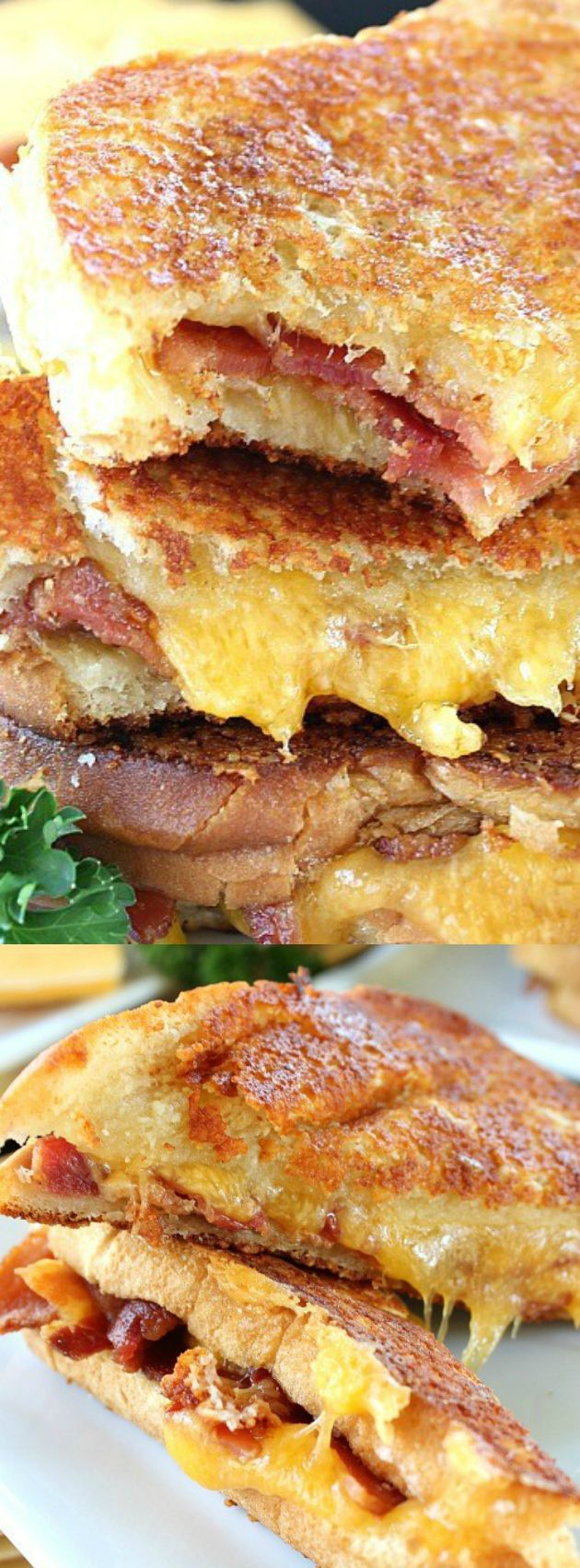 Here's a different take on a grilled cheese sandwich. This cheese toast bacon grilled cheese tastes great and is a good way to change up the standard grilled cheese.