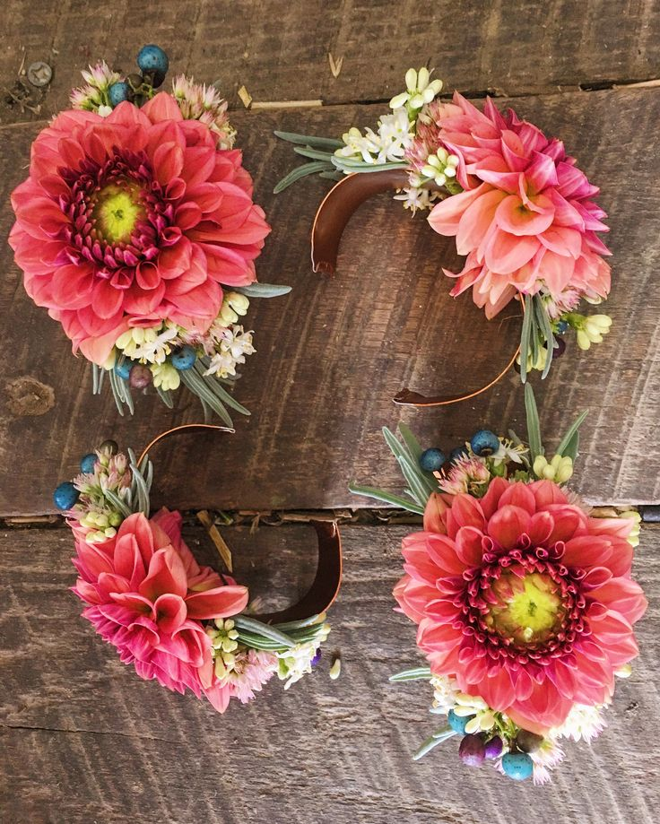Wrist corsages featuring dahlias.  Grown and designed by Love 'n Fresh Flowers.