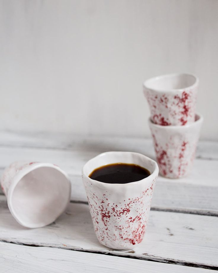 Set of  FOUR white red ceramic handmade cups, japanese style pottery, rustic tea set, raku cups, minimalist cup, wabi sabi coffee cup set by KateVoronina on Etsy