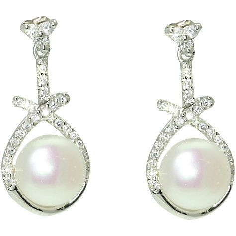 Buy Lido Pearls Cubic Zirconia Triangle Earrings, White Online at johnlewis.com