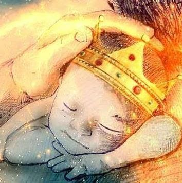 Prophetic painting of baby with golden crown on his head. Decree A Thing As A King, My Child by Deborah Waldron Fry. Please also visit www.JustForYouPropheticArt.com for more Prophetic Art you might like to pin. #propheticart