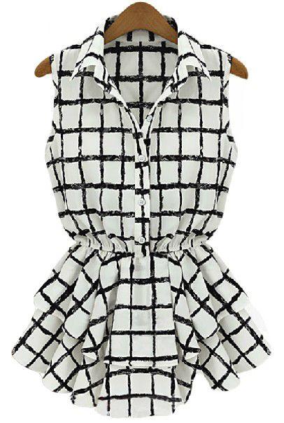 Black White Plaid Sleeveless Bandeau Ruffles Blouse - Sheinside.com