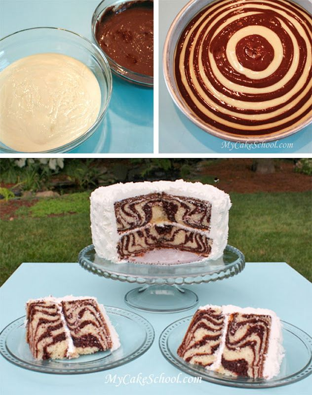 """This zebra cake looks amazing...Start w/2 bowls of batter, vanilla and chocolate. Then take 1/4 c vanilla batter into middle of 8"""" pan; allow it to spread. Measure 1/4 c chocolate batter and pour onto middle of vanilla batter. Basically you just repeat this process of alternating flavors! Easy enough right?"""